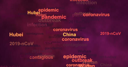 Word cloud with name regions where Coronavirus 2019-nCoV spreads global Animation