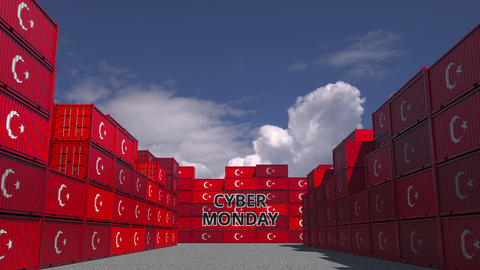 Containers with CYBER MONDAY text and flags of Turkey. Turkish online commerce Live Action