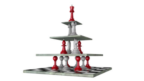 Monarchy (pyramid of power, chess metaphor). 3D animation. Full HD video Animación