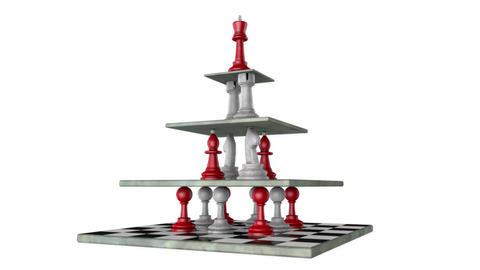 Monarchy (pyramid of power, chess metaphor). 3D animation. Full HD video Animación