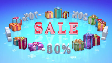 1 Christmas And New Year (greeting Cards Background Captions With Alpha Channel).3D Animation