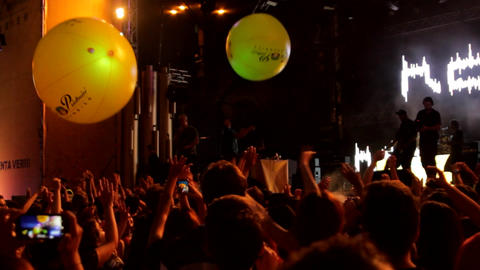 Summer Concert Festival, People Dancing And Cheering, Rock Music, Balloons, Pan GIF