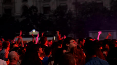 Summer Concert Festival, People Dancing And Cheering, Crowd, Pan Footage