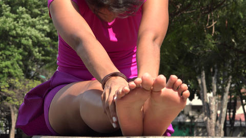 Thin Young Woman Stretching Footage