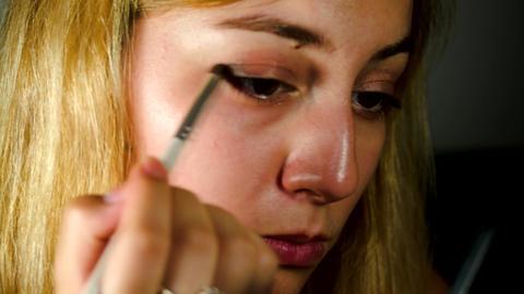 Beautiful Girl Puting On Eye Shadow, Make Up, Close Up Shot, Date Night Footage