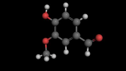 vanillin molecule modell rotating Animation