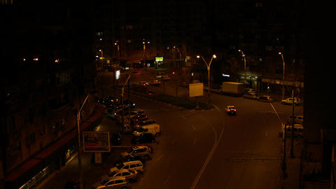 Aerial View Of A Street Late At Night, Night Traffic Footage