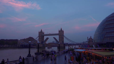 Twilight by the Thames and Tower Bridge in London, UK Footage
