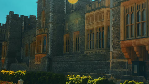 Ultra Closeup Shot of the Medieval Windsor Castle with a Lens Flare in Berkshire Footage