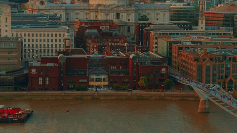 Aerial View of the St Pauls Cathedral, River Thames and Millennium Bridge in Lon Footage