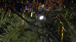 Christmas Tree Detail, Holyday, Christmas Lights, Tinsel, Joy, Pan Footage