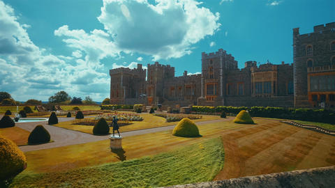 Ultra Wide View of the Medieval Windsor Castle and Gardens in Glorious Sunshine  Footage