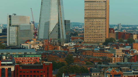 Aerial View of London Southbank including the Shard, UK Live Action