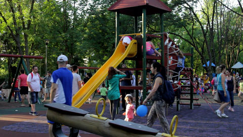 Kids On A Slide, Playing Having Fun, Summer Afternoon, Park, Still Shot Footage