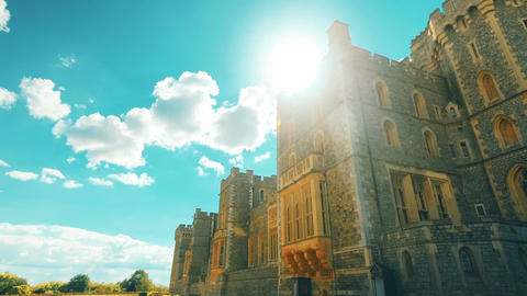 Ultra Wide Angle Sweeping Shot of the Royal Windsor Castle and Gardens in the UK Footage