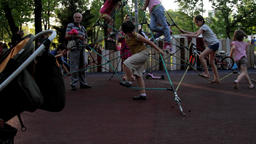 Kids Climbing On Climbing Nets On A Summer Afternoon, Kids Having Fun, Park Tilt Footage