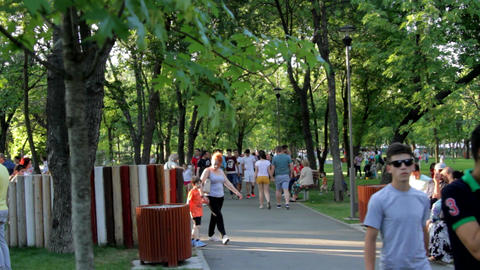 Crowded Park On A Sunday Summer Afternoon, Outdoors, People Walking, Heat Wave Footage