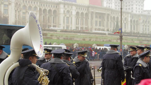 Military Band Waiting For The Start Of Military Parade, Winter, National Day Footage