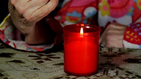 Very Old Lady Lighting A Candle For The Departed Loved Ones, Memories, Nostalgia Live Action