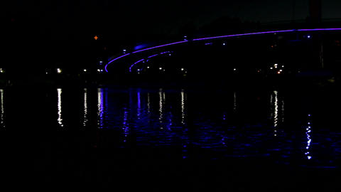 Lake At Night, Illuminated Bridge, People Walking, Summer, Heat, Still Shot Footage