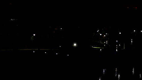 Aerial View Of Park In The Night, Summer Night, Lake, Lights Reflecting On Water Footage