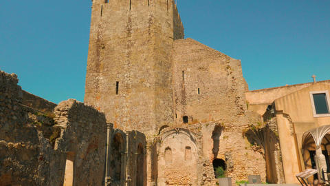 Gimbal Cinematic Shot of a Medieval Church in Ruins Inside the Palmela Castle (C Footage