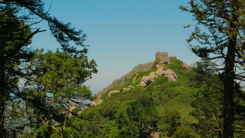 Distant Shot of the Mouros Castle (Castelo dos Mouros) in Sintra, Portugal Footage