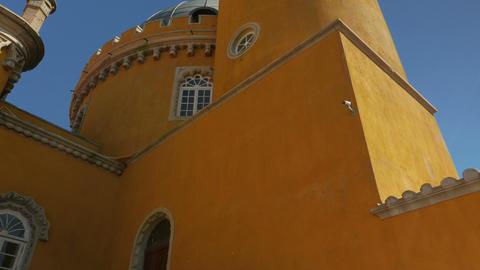 Cinematic POV Perspective of the Pena Palace (Palacio da Pena) in Sintra, Portug Footage