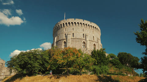Cinematic Shot Featuring the Round Tower of the Windsor Castle in Berkshire, UK Footage