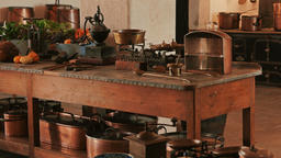 Telephoto Panning Shot of an Old Kitchen and Kitchenware Footage