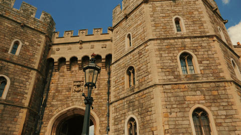 Panoramic Sweeping View of the Windsor Castle Entrance in Berkshire, UK Footage