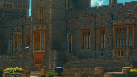 Ultra Closeup Detail of the Medieval Windsor Castle and Gardens in Berkshire, UK Footage