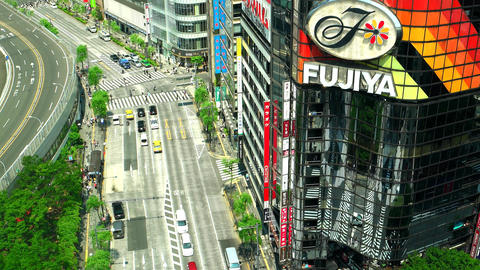 Tokyo - May 2016: Aerial street view with people and traffic in famous shopping Footage