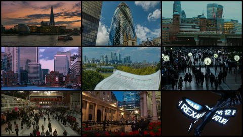 London 4K Video Wall with Financial Landmarks Live Action