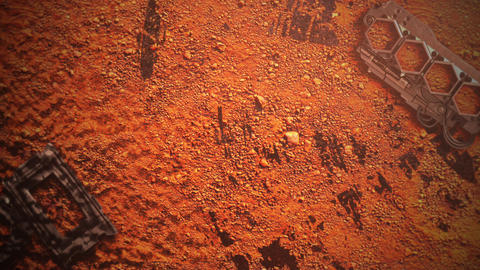 Cinematic background with shapes in planet mars and motion camera Animation