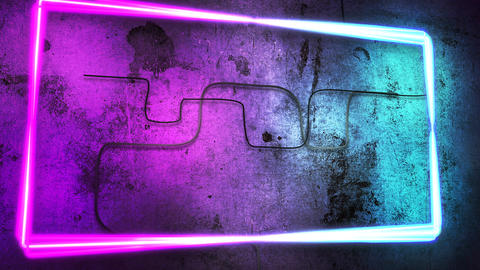 Motion colorful neon lights on wall, abstract background Animation