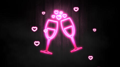 Animation closeup motion romantic heart on Valentine day shiny background Animation