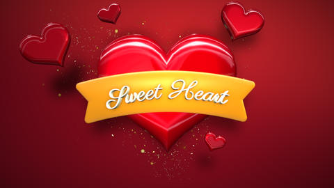 Animated closeup Sweet Hearts text and motion romantic heart on Valentine day shiny background CG動画