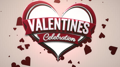 Animated closeup Valentines text and motion romantic heart on Valentine day shiny background Animation