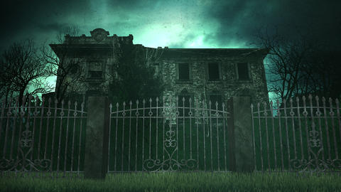 Mystical horror background with the house and moon Animation