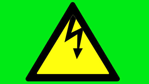 Electricity danger on a green background Animation