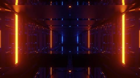 3d illustration motion background of a dark futuristic sci-fi tunnel corridor Animation