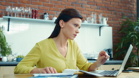 Business woman finding mistakes in report. Girl solving problem in project Live Action