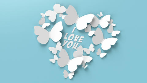 """The text """"I love you"""" is covered with heart-shaped butterflies Animation"""