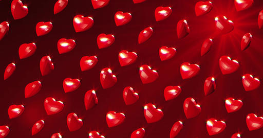 Romantic red polygonal flying hearts with ray of light. Valentines Day. Red Live Action