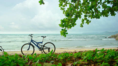 Bicycle Parked on a Tropical Beach on a Cloudy Day. Video Footage