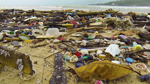Assorted Litter and Debris Strewn along a Tropical Beach. FullHD video Footage