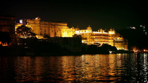 City palace in Udaipur at night. India. Rajasthan Footage