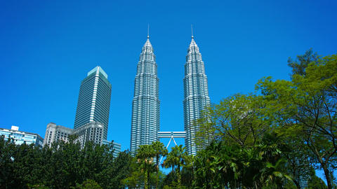 Petronas Towers or Petronas Twin Towers a popular tourists attraction Footage