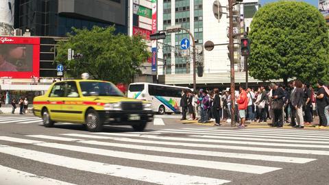 Tokyo- May 2016: Traffic at Shibuya crossing. 4K resolution Footage